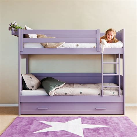 Bunk Bed With Slide Out Bed Cometa Bunk Bed With Trundle Drawer Asoral Cuckooland