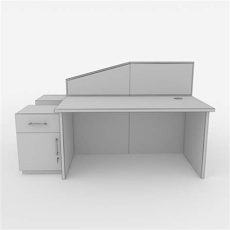 Modern Workstation Desk Modern Office Desk Workstation With Divider 3d Model Animated Max Office Desk Workstation