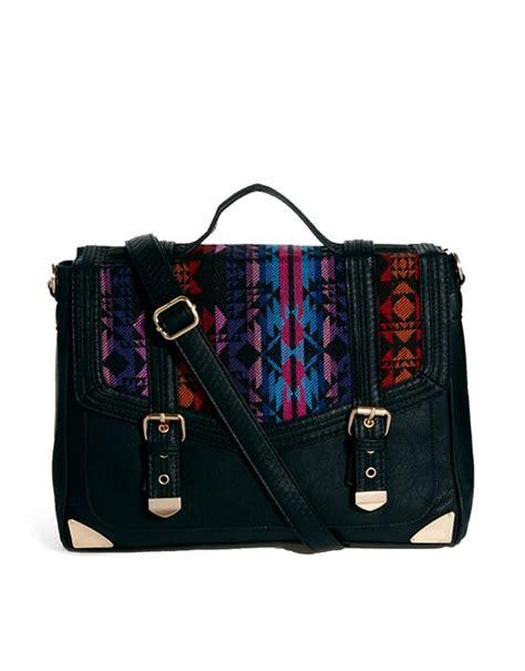 Panel Satchel Bag asos asos satchel bag with aztec weave panel