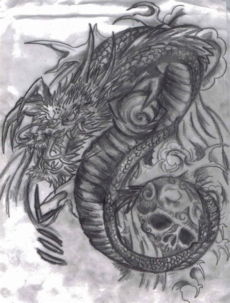 japanese skull tattoo designs japanese dragon and skull by tattoo madd d5j6l19 jpg 900