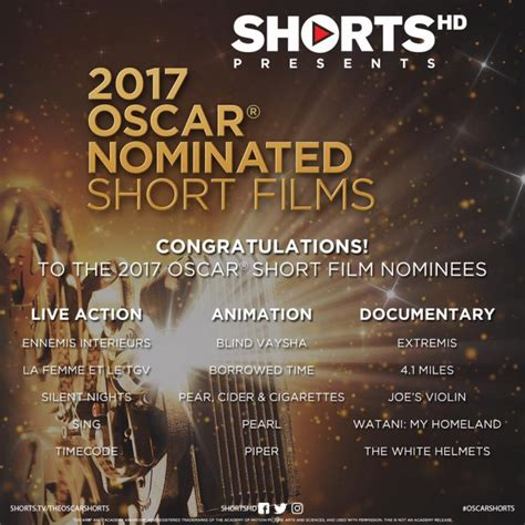 short film oscar nominees shortshd 2017 oscar 174 nominated short films oscarshorts