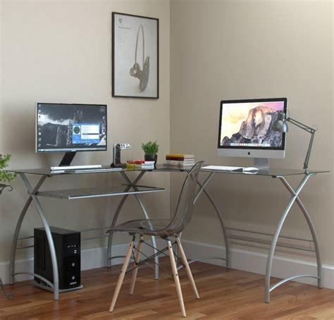 l shaped desk in silver