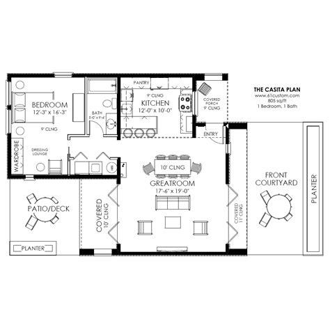 Casita Home Plans | contemporary casita plan small modern house plan