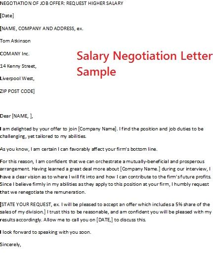 salary negotiation letter sample best resume gallery