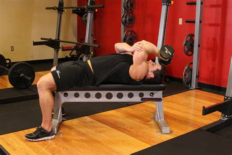 bench tricep extension one arm pronated dumbbell triceps extension exercise guide
