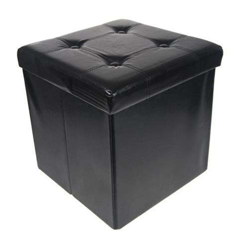 Storage Ottoman Sale Storage Ottoman Faux Leather Collapsible Foldable Seat Foot Rest Coffee Table Black Furnitures
