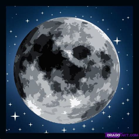 Drawing The Moon by How To Draw A Moon Step By Step Outer Space Landmarks