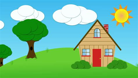 house animated family drawing beautiful animation stock footage