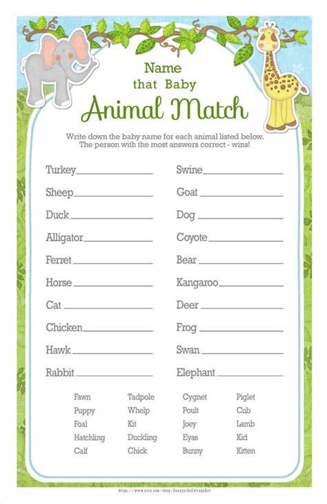 printable animal babies match game animal baby match game printable baby shower match the