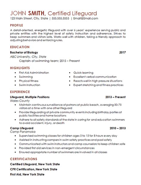 certified lifeguard resume exle freelance professional