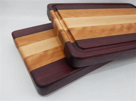 Handcrafted Wooden Cutting Boards - handcrafted wood cutting board edge grain purpleheart