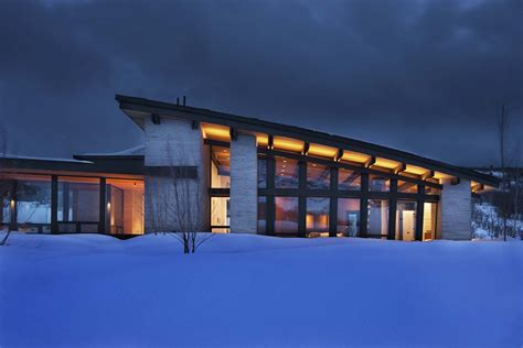 majestic mountain home  stone  glass dominates
