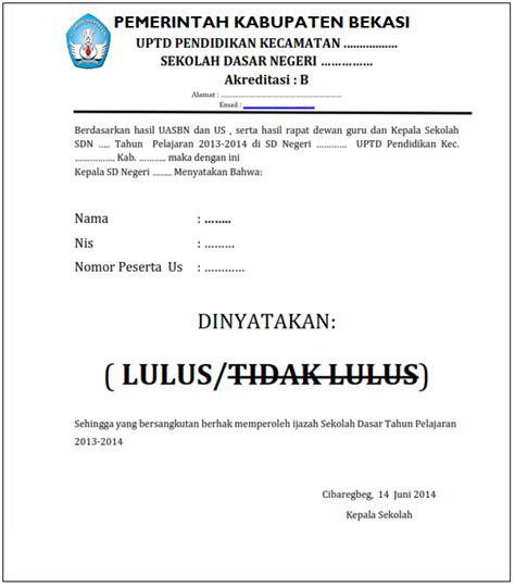 contoh surat keterangan kelulusan ops sekolah dasar