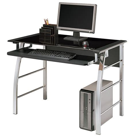 Office Depot Black Desk Realspace 174 Mezza Desk Black Glass Top 29 7 10 Quot H X 40 3 5 Quot W X 23 3 5 Quot D Black Chrome