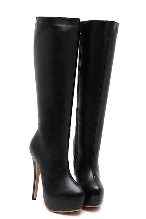 knee high high heeled boots black faux leather knee high high heeled boots swb20380