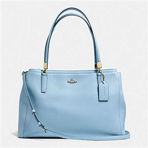 light blue coach wallet coach f34672 christie carryall in crossgrain leather
