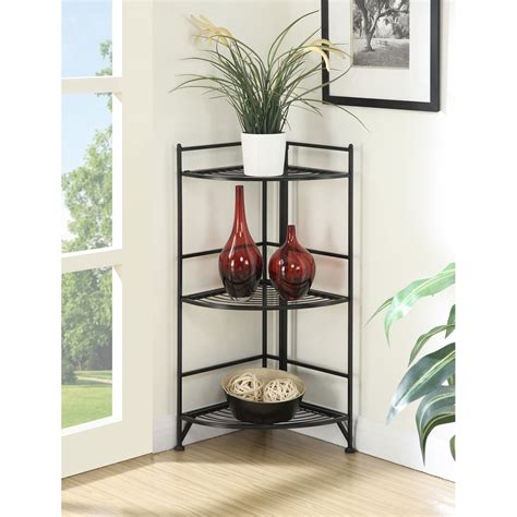 Free Standing Corner Shelf by 3 Tier Corner Folding Metal Corner Shelf Convenience