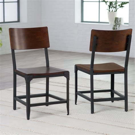 Belham Living Trenton Wood And Metal Dining Chairs Set Steel Dining Chair