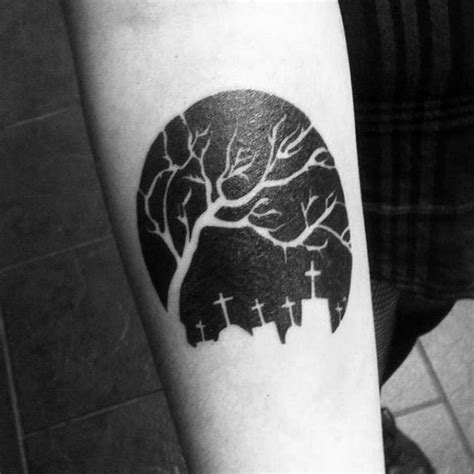 small black and white tattoos black and white tree on cemetery arm