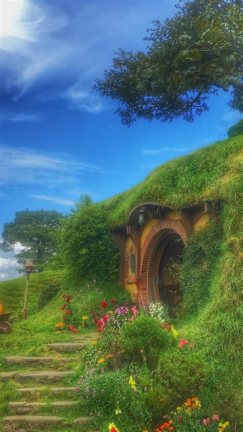 hobbiton forest house fabulous wallpaper