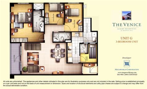 3 bedroom unit floor plans unit g 3 bedroom unit megaworld condominiums