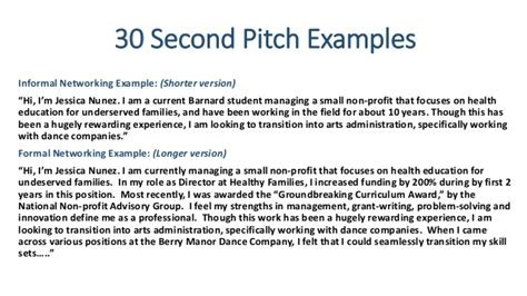 30 second pitch template sle pitch for resume resume ideas