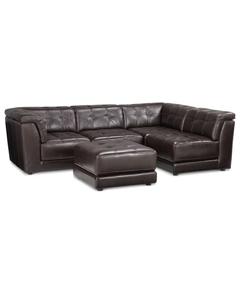 modular sectional leather lovely stacey leather 5 piece modular sectional sofa