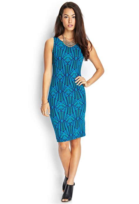 Dress Blus Tribal forever 21 tribal print midi dress in blue jade royal lyst