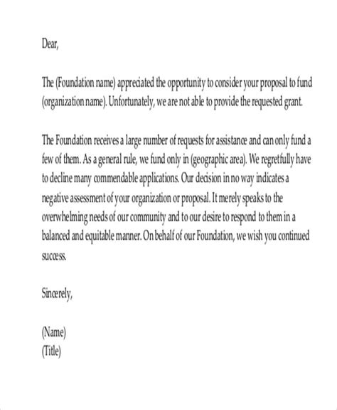charity request refusal letter donation decline letter docoments ojazlink