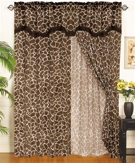 giraffe curtains giraffe animal kingdom curtain set w valance sheer tassels