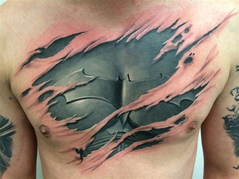 ripped skin tattoos black and grey ripped skin batman costume on