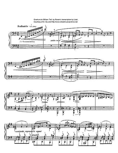 Guglielmo Tell (Guillaume Tell) Overture arr. Liszt