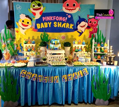 baby shark birthday theme pink lemonade balloons and party favors cebu baby shark