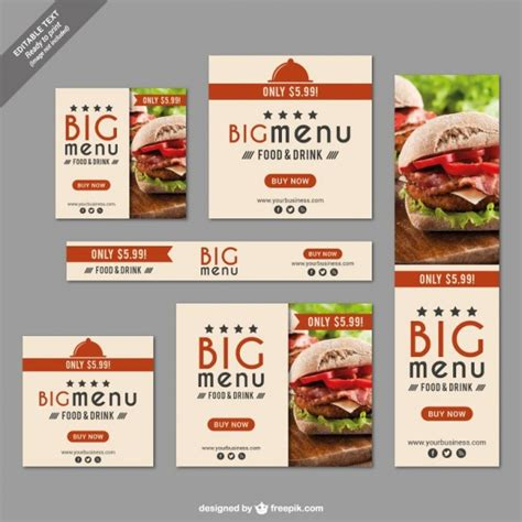 table ads for restaurants fast food restaurant set vector free