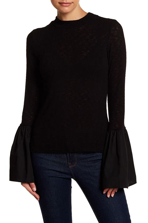 mock neck bell sleeve top cad mock neck poplin bell sleeve knit top nordstrom rack