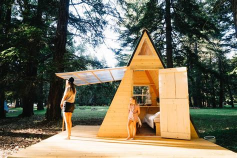 micro a frame cabin in the woods
