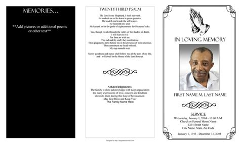 template for a funeral program black and white funeral program template with poem and