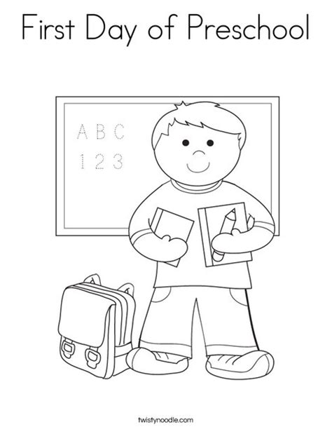 preschool coloring pages first day of school first day of preschool coloring page twisty noodle