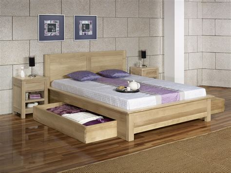 lit collection nature 160 200 en ch 234 ne massif avec tiroirs