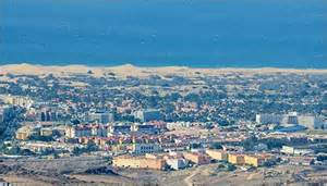 View of maspalomas with all the hotels and apartments