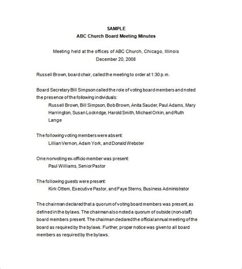 board of directors meeting minutes template 9 free