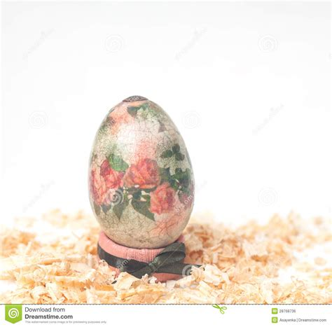 Decoupage Method - easter egg made decoupage methods royalty free stock image