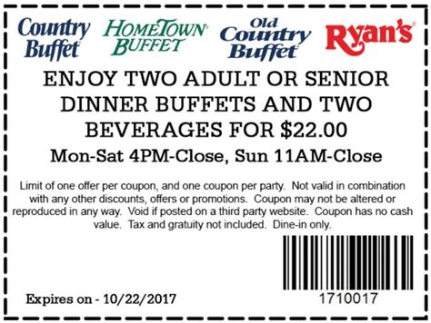 Old Country Buffet Coupons Promo Codes March 2017 Country Buffet Application