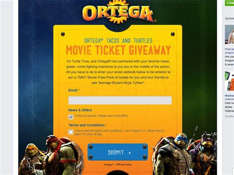 Ticket Sweepstakes - ortega tacos and turtles movie ticket giveaway