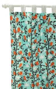 Aqua And Orange Curtains Aqua Orange Chocolate Bird Curtain Panels For Nursery Or Kid S Room Feather Your Nest In Aqua