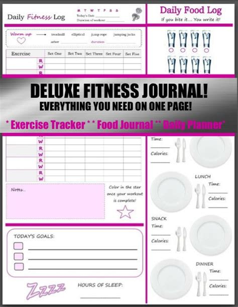 printable daily health journal printable health and fitness planners and printable