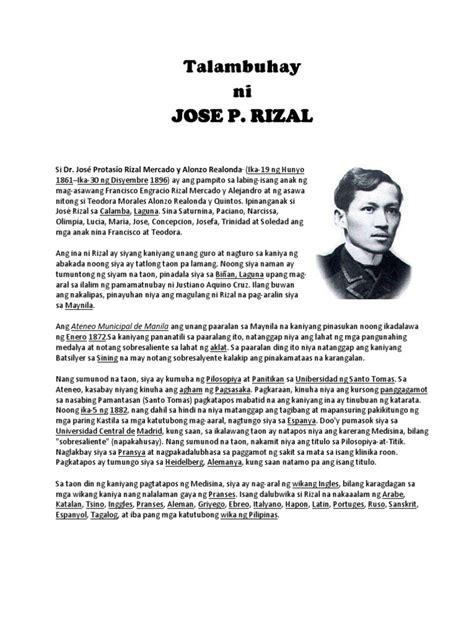 biography ni jose rizal talambuhay ni jose rizal