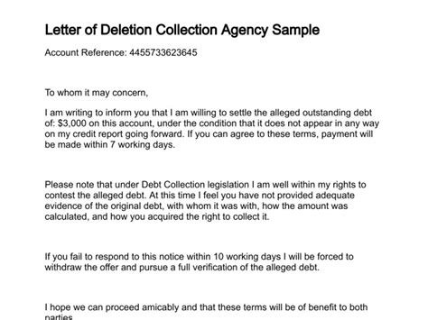 Hardship Letter To Collection Agency Letter Of Deletion