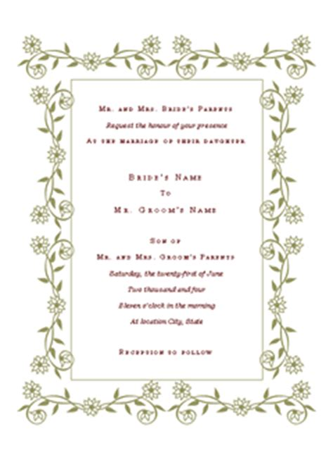 Wedding Invitation Templates Format Exle Microsoft Word Wedding Invitation Templates