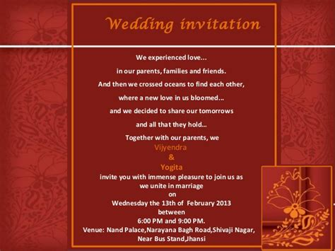 House Blessing Invitation Card Sle 27 best indian wedding invitation wordings editable